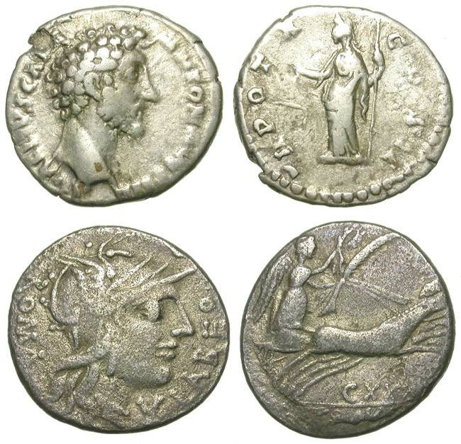 Ancient Coins - ECONOMIC LOT OF TWO SILVER ROMAN DENARII: REPUBLICAN AND IMPERIAL