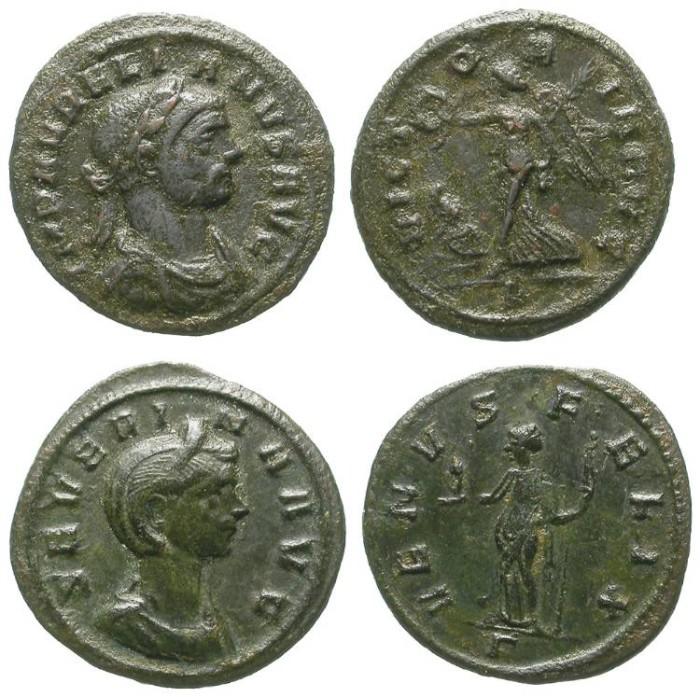 Ancient Coins - SEVERINA AND AURELIAN. 2 AE DENARS. HUSBAND & WIFE TOGETHER