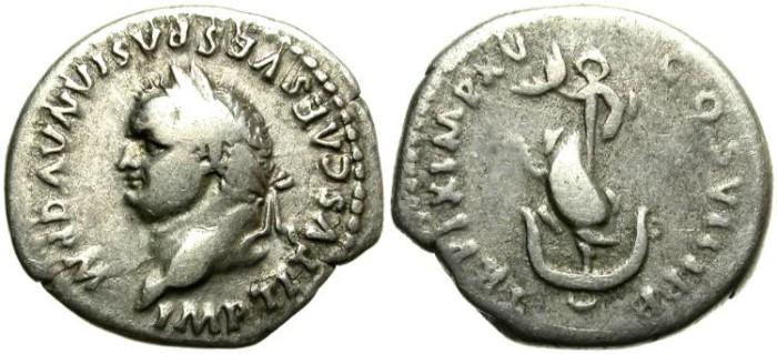 Ancient Coins - TITUS 79 - 81 A.D.  AR  DENARIUS. GOOD  SILVER  NICE PORTRAIT.