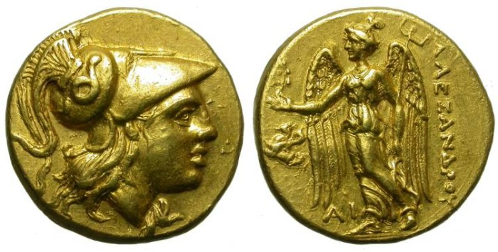 Ancient Coins - ALEXANDER THE GREAT. GOLD STATER. LAMPSAKOS MINT. BEAUTIFUL ISSUE.