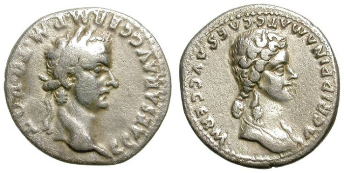Ancient Coins - CALIGULA & AGRIPPINA. SILVER DENAR. VERY RARE. ATTRACTIVE ISSUE