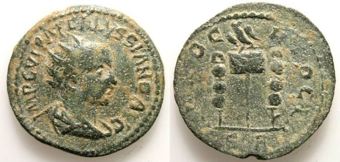 Ancient Coins - VOLUSIAN. PROVINCIAL ISSUE. ANTIOQUIA in PISIDIA. NICE COIN w/an ATTRACTIVE PATINA