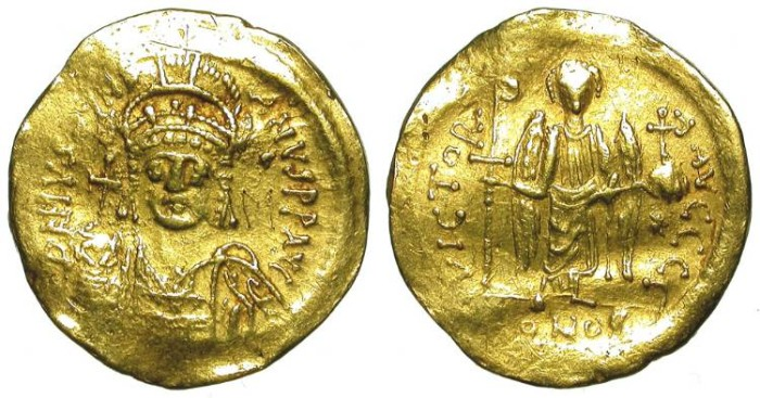 Ancient Coins - IUSTINIAN. GOLD SOLIDUS. AFFORDABLE SPECIMEN