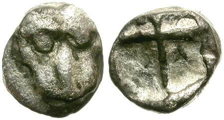 Ancient Coins - GREEK FRACTION. SILVER OBOL. CHERSONESSOS (?)
