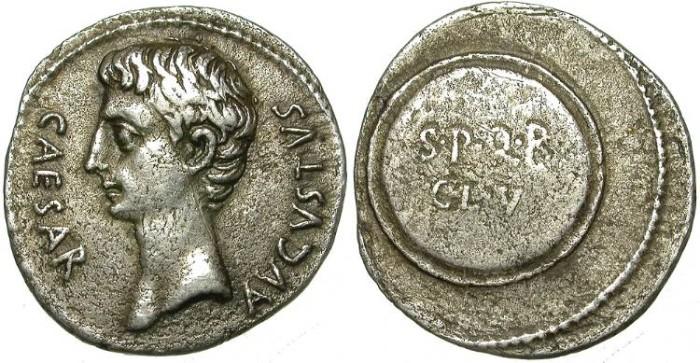 Ancient Coins - AUGUSTUS. SILVER DENARIAUS NICE PORTRAIT. COLONIA PATRICIA MINT. (?)