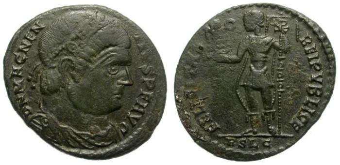 Ancient Coins - MAGNENTIUS. AE CENTENIONAL. LUGDUNUM MINT. INTERESTING PORTRAITURE