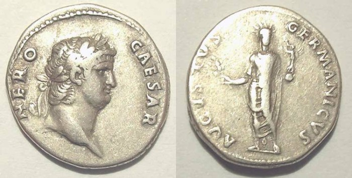 Ancient Coins - NERO. Denar. VF. Interesting reverse.