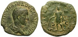 Ancient Coins - HERENNIUS ETRUSCUS.  BRONZE SESTERZ.  RARE ISSUE.