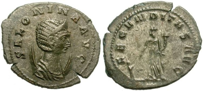 Ancient Coins - SALONINA. AE ANTONINIANUS. SOME SILVERING REMAINING. ATTRACTIVE BUST