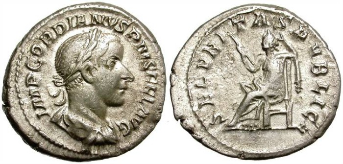 Ancient Coins - GORDIAN  III.  SILVER DENARIUS.  BEAUTIFUL PORTRAIT.