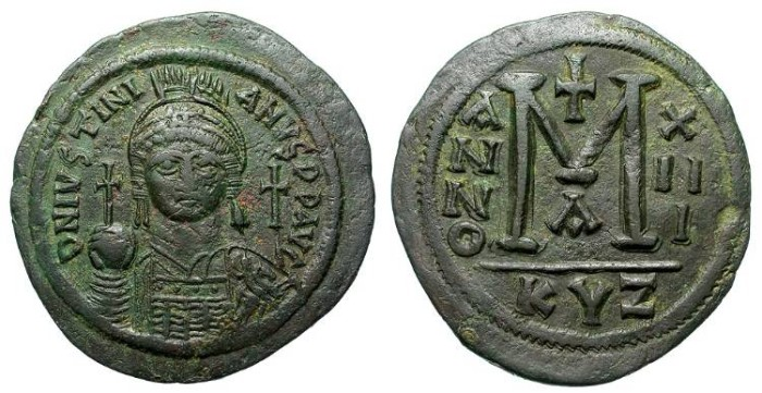 Ancient Coins - JUSTINIAN. THE GREAT. FOLLIS. KYCICUS MINT. VERY LARGE MODULE