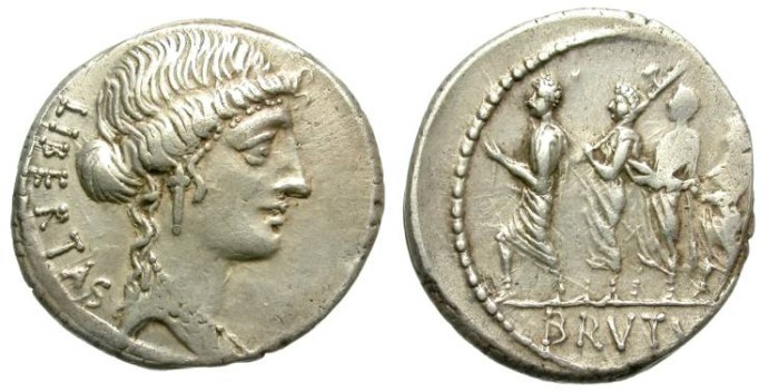 Ancient Coins - ROMAN REPUBLIC. SILVER DENARIUS. M.IUNIUS BRUTUS. NICE PORTRAIT.