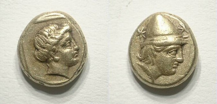 Ancient Coins - Lesbos. Mitylene. Sixth electrum stater. Gorgeous !