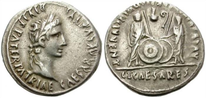 Ancient Coins - AUGUSTUS. SILVER DENARIUS. LUGDUNUM. CAYO AND LUCIUS CAESARES. NICE !