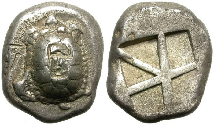 Ancient Coins - AEGINA. SILVER STATER. EARTH TURTLE. 2 RARE COUNTERSTAMPS.