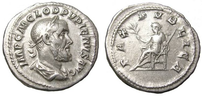 Ancient Coins - PUPIENUS  DENARIUS.  GOOD  PORTRAIT.