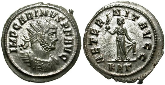 Ancient Coins - CARINUS AS AUGUSTUS. BILLON ANTONINIANUS. ROME MINT. MANY SILVERING REMAINING