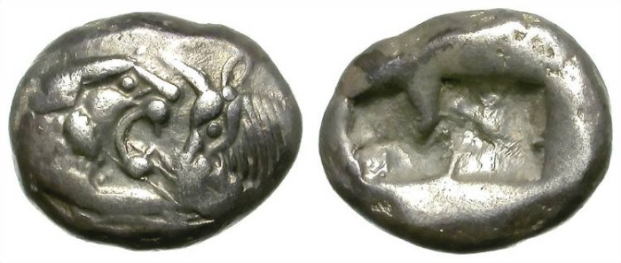 Ancient Coins - KROISOS, KING OF LYDIA. SILVER SIGLOS. FIRST SILVER COINAGE. EMBLEMATIC ISSUE ! /1