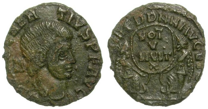 Ancient Coins - RARE MAGNENTIUS AE FRACTION. NICELY DETAILED MINIATURE.