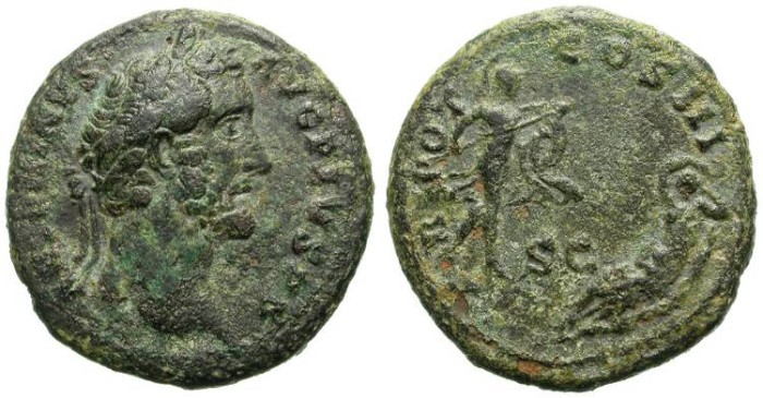 Ancient Coins - ANTONINUS PIUS. AS. VERY INTERESTING ISSUE. RHEA SILVIA BEING SURROUNDED BY MARS. THE CONCEPTION OF ROMULUS & REMO, FOUNDERS OF ROME