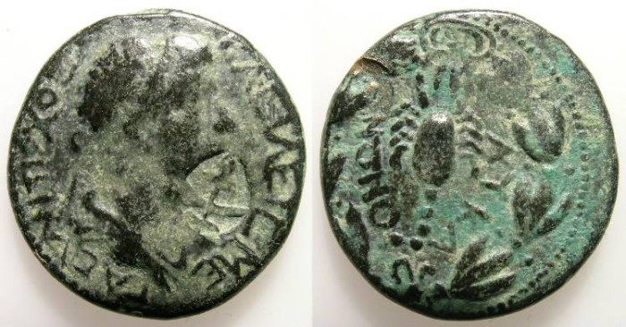 Ancient Coins - ANTIOCHOS IV FROM COMMAGENE. LYCAONIA. SCORPION. RARE COUNTERSTAMPED COIN !