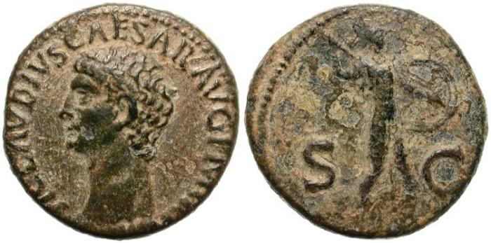 Ancient Coins - CLAUDIUS. 41 - 54  A.D  AS.  BEAUTIFUL  PORTRAIT.