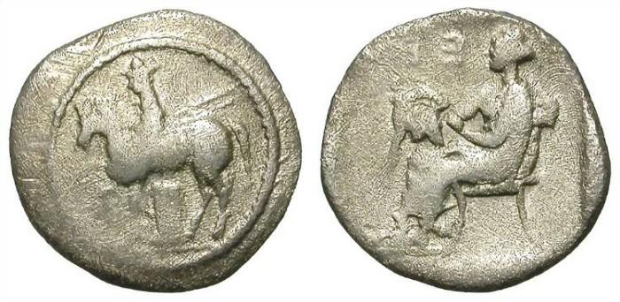 Ancient Coins - LARISSA. RARE DIOBOL. WORN BUT INTERESTING