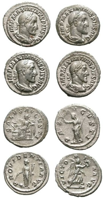 Ancient Coins - LOT OF 4 MAXIMINUS DENARS. EF. VERY NICE GROUP. BEAUTIFUL COINS !