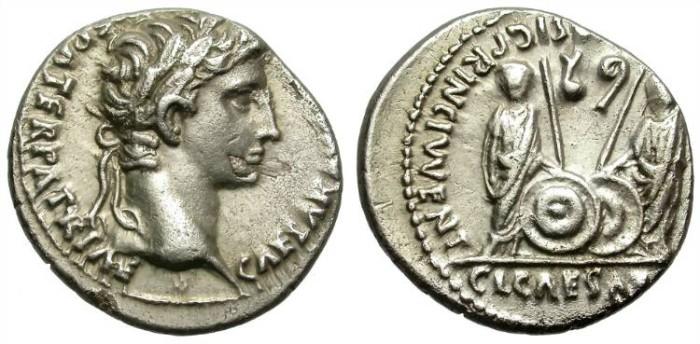 Ancient Coins - AUGUSTUS. SILVER DENARIUS. LUGDUNUM. CAIUS & LUCIUS.
