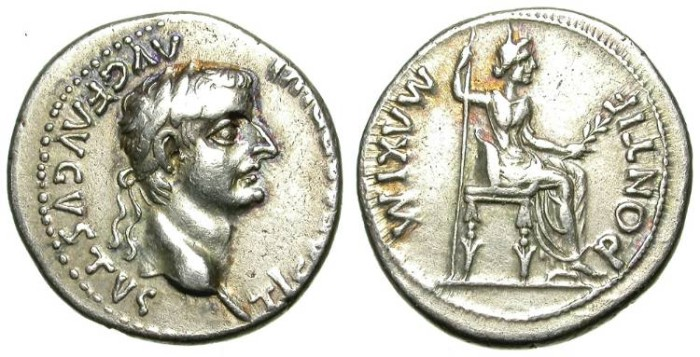 Ancient Coins - TIBERIUS. DENAR. TRIBUTE PENNY. VERY GOOD SILVER CONDITION. BETTER SAMPLE
