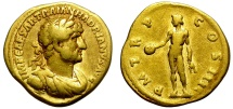 Ancient Coins - HADRIAN. GOLD AUREUS. NICE STRIKE. GENIUS OF THE ROMAN PEOPLE on REV.