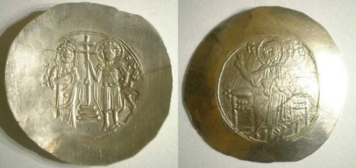 Ancient Coins - JOHN II COMNENUS. Electrum aspron trachy. NICE VF. Scarce in electrum !