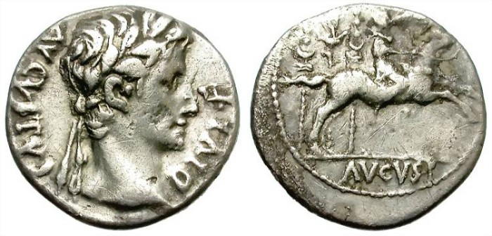 Ancient Coins - AUGUSTUS. AR DENARIUS. 27 BC. LUGDUNUM MINT. RARE AND ATTRACTIVE.