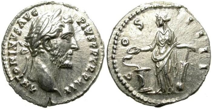 Ancient Coins - ANTONINUS PIUS. A.D. 138 - 161. DENARIUS.  GOOD CONDITION.