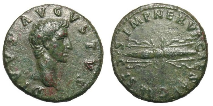 Ancient Coins - AUGUSTUS. AS. RESTITUTION BY NERVA. RARE COIN. NICE GREEN PATINA