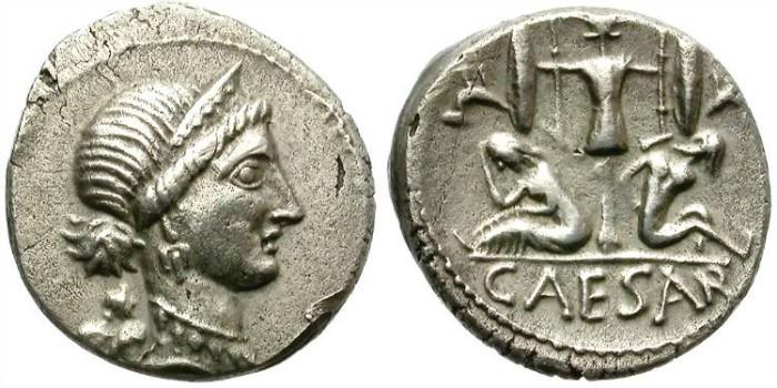 Ancient Coins - IULIUS CAESAR. SILVER DENARIUS. NICE AND ATTRACTIVE ISSUE /2