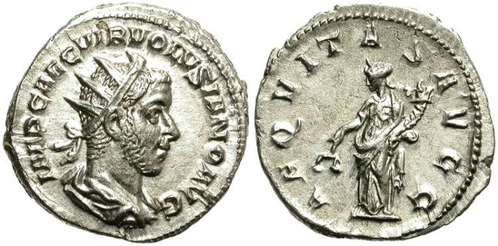 Ancient Coins - VOLUSIAN. SILVER ANTONINIANUS. BEAUTIFUL PORTRAIT