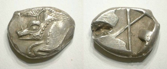 Ancient Coins - LYCIA. STATER. ANONyMOUS ISSUE. BOAR PROTOME. EF. Bump on reverse. AMAZING !