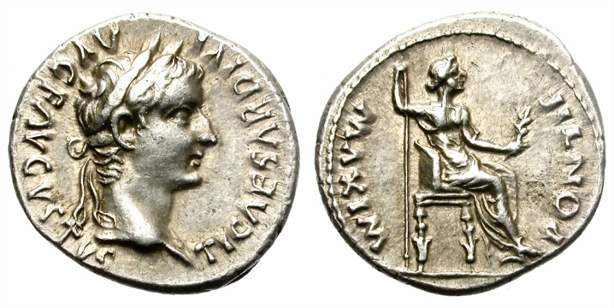 Ancient Coins - TIBERIUS. SILVER DENARIUS. TRIBUTE PENNY. BEAUTIFUL PORTRAIT