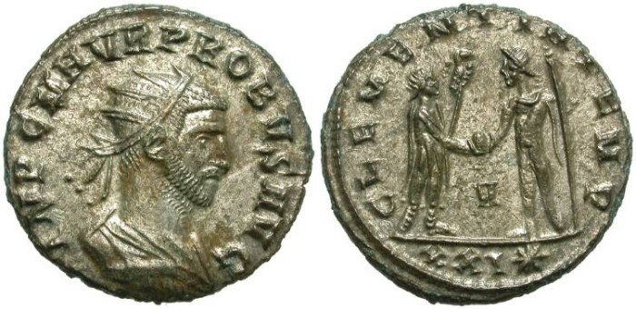 Ancient Coins - PROBUS. AE ANTONINIAN. MANY SILVERING. COURIOUS BUST.