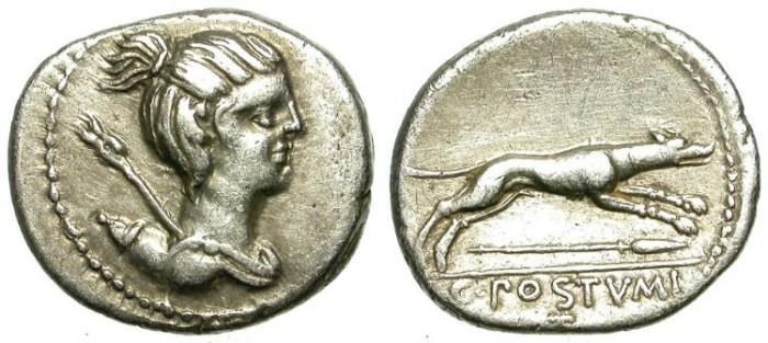 Ancient Coins - ROMAN REPUBLIC. SILVER DENARIUS. POSTUMIA 9. ATTRACTIVE ISSUE