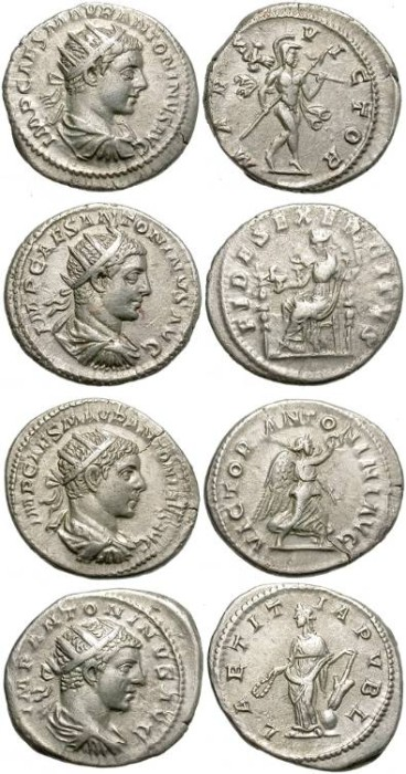 Ancient Coins - LOT OF FOUR SILVER ANTONINIAN. ELAGABALUS. VERY NICE CONDITION.