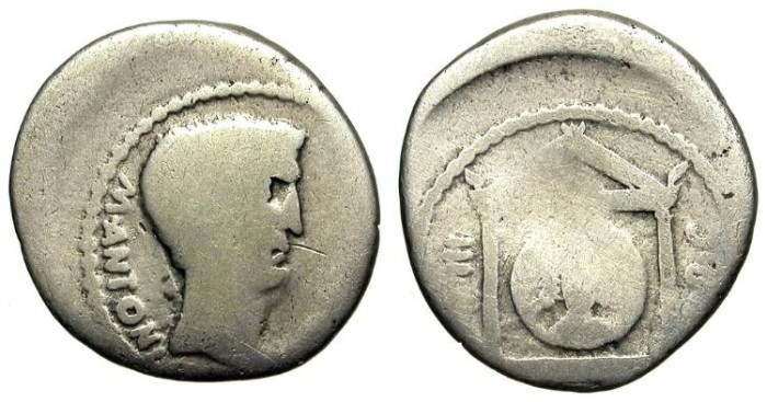Ancient Coins - MARK ANTHONY. DENAR. SUN IN TEMPLE ON REV. INEXPENSIVE !