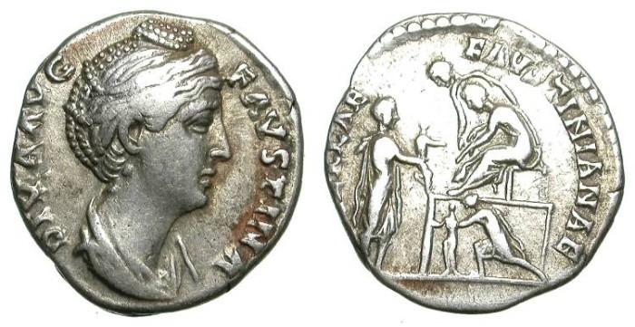 Ancient Coins - EXTREMELY RARE DENAR. VF. FAUSTINA I. PLATFORM ON REVERSE !
