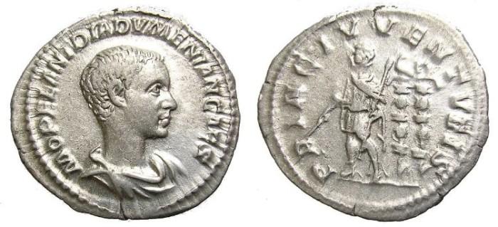 Ancient Coins - DIADUMENIAN, A. D. 218. DENARIUS. WELL  CENTERED.