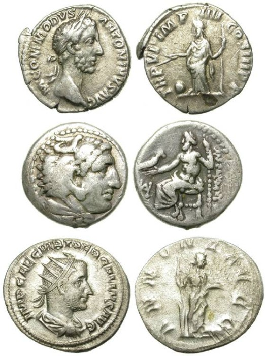 Ancient Coins - LOT OF THREE MISCELLANEOUS SILVER DENOMINATIONS WHICH HAVE FORGED WIDESPREAD PROTOTYPES IN ANCIENT NUMISMATICS