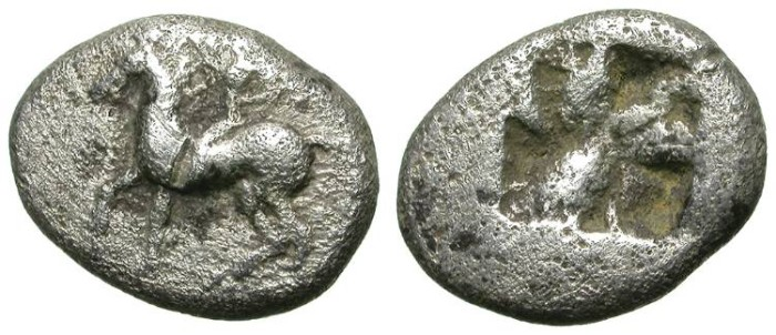 Ancient Coins - EARLY MACEDON (?). TETROBOL. INTERESTING EARLY ISSUE !
