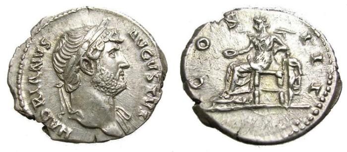 Ancient Coins - HADRIAN,  A. D. 117-138.  DENARIUS.  BEAUTIFUL  PORTRAIT.
