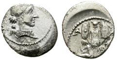 Ancient Coins - ROMAN IMPERATORIAL. JULIUS CAESAR. DENARIUS. TRAVELLING MILITARY MINT IN GALLIA / SPAIN
