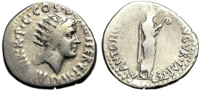 Ancient Coins - MARC ANTHONY. DENAR. PORTRAIT OF SUN GOD ON OBV. DECENT W/ VERY GOOD SILVER